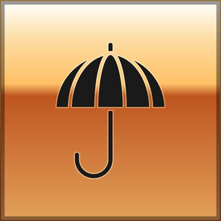 Black Classic elegant opened umbrella icon isolated on gold background. Rain protection symbol. Vector Illustration