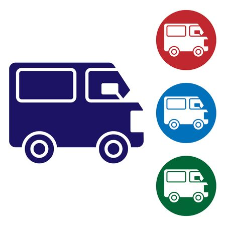 Blue Delivery cargo truck vehicle icon isolated on white background. Set icons in color square buttons. Vector Stockfoto - 147611075