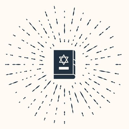 Grey Jewish torah book icon isolated on beige background. On the cover of the Bible is the image of the Star of David. Abstract circle random dots. Vector