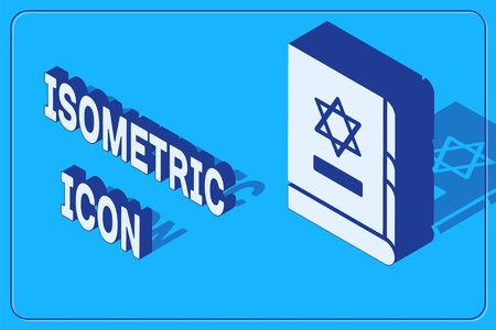 Isometric Jewish torah book icon isolated on blue background. On the cover of the Bible is the image of the Star of David. Vector