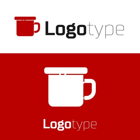 Red Camping metal mug icon isolated on white background.  design template element. Vector