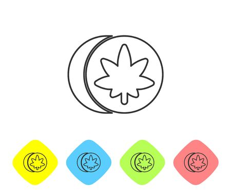 Grey line Herbal ecstasy tablets icon isolated on white background. Set icons in color rhombus buttons. Vector