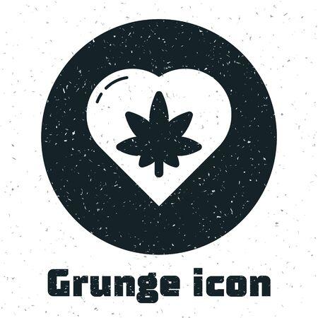 Grunge Marijuana leaf in heart shape icon isolated on white background. Hemp symbol. Monochrome vintage drawing. Vector