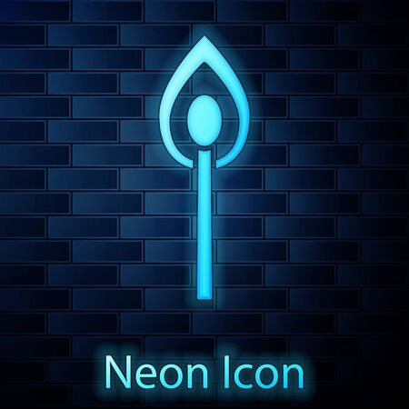 Glowing neon Burning match with fire icon isolated on brick wall background. Match with fire. Matches sign. Vector