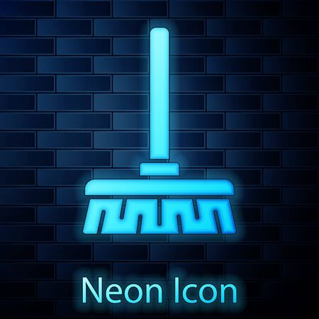 Glowing neon Handle broom icon isolated on brick wall background. Cleaning service concept. Vector