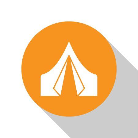 White Tourist tent icon isolated on white background. Camping symbol. Orange circle button. Vector Ilustração