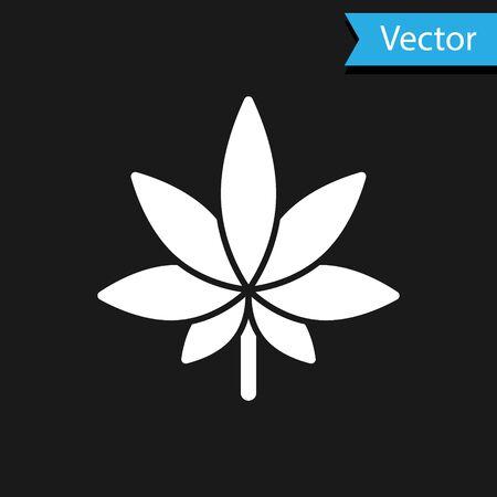 White Medical marijuana or cannabis leaf icon isolated on black background. Hemp symbol. Vector Illustration