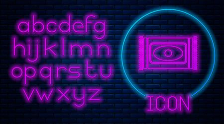 Glowing neon Traditional carpet culture ramadan arabic islamic celebration icon isolated on brick wall background. Neon light alphabet. Vector