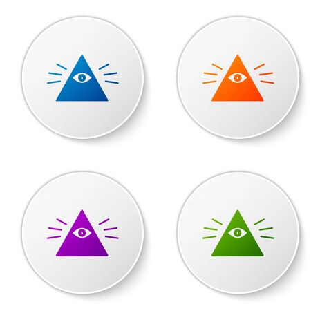Color Masons symbol All-seeing eye of God icon isolated on white background. The eye of Providence in the triangle. Set icons in circle buttons. Vector