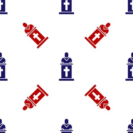 Blue and red Church pastor preaching icon isolated seamless pattern on white background. Vector