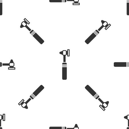 Grey Medical otoscope tool icon isolated seamless pattern on white background. Medical instrument. Vector Vectores