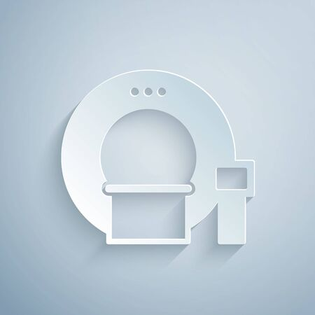 Paper cut Tomography icon isolated on grey background. Medical scanner, radiation. Diagnosis, radiology, magnetic resonance therapy. Paper art style. Vector Ilustración de vector