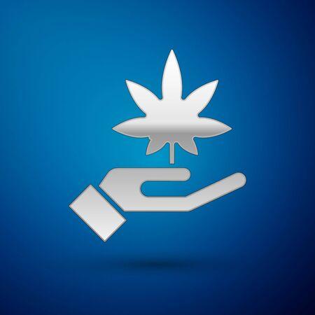 Silver Medical marijuana or cannabis leaf icon isolated on blue background. Hemp symbol. Vector