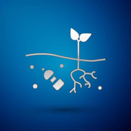 Silver The problem of pollution of the planet icon isolated on blue background. The garbage, plastic, bags on the planet. Vector Illustration