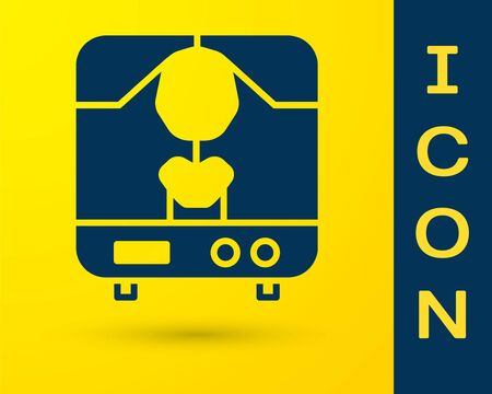 Blue X-ray machine icon isolated on yellow background. Vector
