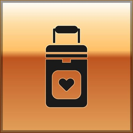 Black Cooler box for human organs transportation icon isolated on gold background. Organ transplantation concept. Organ container. Vector