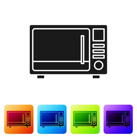 Black Microwave oven icon isolated on white background. Home appliances icon. Set icons in color square buttons. Vector Ilustração
