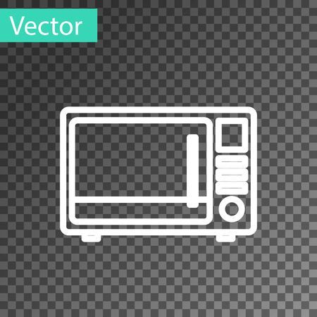 White line Microwave oven icon isolated on transparent background. Home appliances icon. Vector