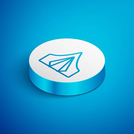Isometric line Tourist tent icon isolated on blue background. Camping symbol. White circle button. Vector