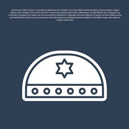 Blue line Jewish kippah with star of david icon isolated on blue background. Jewish yarmulke hat. Vector Ilustração