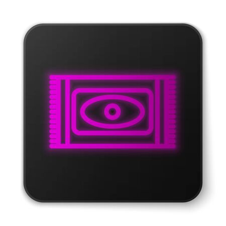 Glowing neon line Traditional carpet culture ramadan arabic islamic celebration icon isolated on white background. Black square button. Vector Illustration Illustration