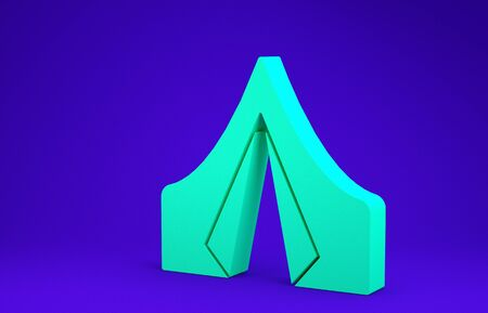 Green Tourist tent icon isolated on blue background. Camping symbol. Minimalism concept. 3d illustration 3D render