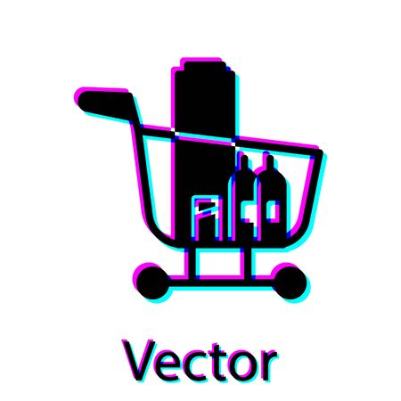 Black Shopping cart and food icon isolated on white background. Food store, supermarket. Vector Illustration