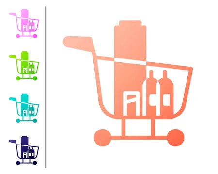 Coral Shopping cart and food icon isolated on white background. Food store, supermarket. Set color icons. Vector Illustration