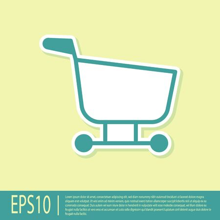 Green Shopping cart icon isolated on yellow background. Food store, supermarket. Vector Illustration