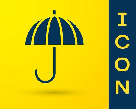 Blue Classic elegant opened umbrella icon isolated on yellow background. Rain protection symbol. Vector Illustration.