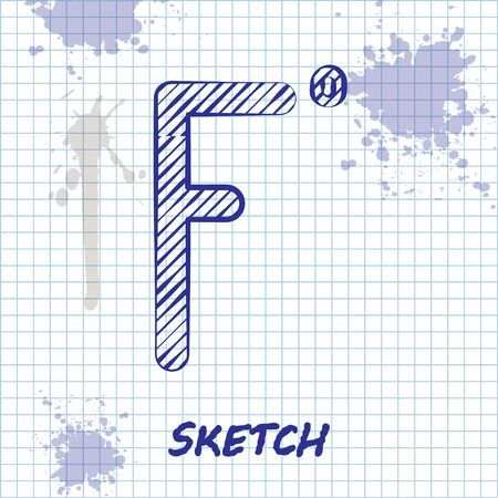 Sketch line Fahrenheit icon isolated on white background. Vector Illustration.