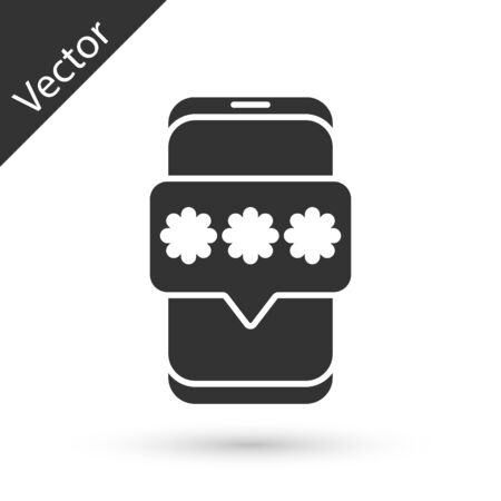 Grey Mobile and password protection icon isolated on white background. Security, safety, personal access, user authorization, privacy. Vector Illustration. Vettoriali