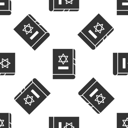 Grey Jewish torah book icon isolated seamless pattern on white background. On the cover of the Bible is the image of the Star of David. Vector Illustration