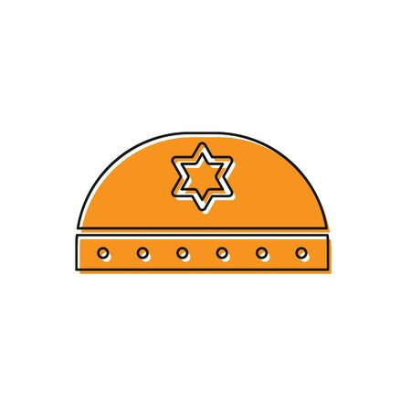 Orange Jewish kippah with star of david icon isolated on white background. Jewish yarmulke hat. Vector Illustration.