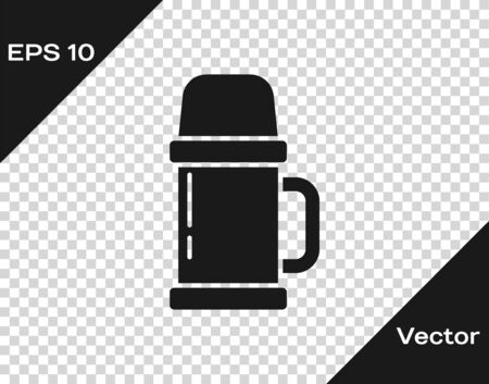 Black Thermos container icon isolated on transparent background. Thermo flask icon. Camping and hiking equipment. Vector Illustration. Vectores