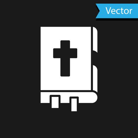 White Holy bible book icon isolated on black background. Vector Illustration