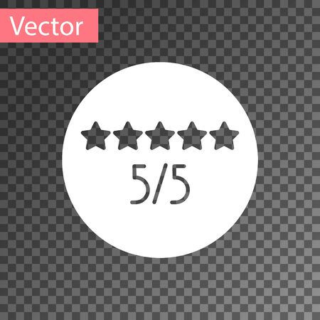 White Consumer or customer product rating icon isolated on transparent background. Vector Illustration
