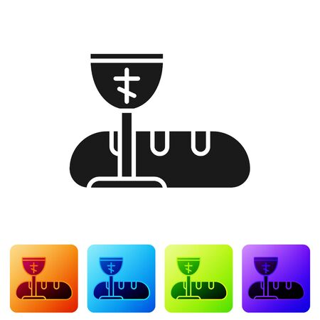 Black First communion symbols for a nice invitation icon isolated on white background. Set icons in color square buttons. Vector Illustration.