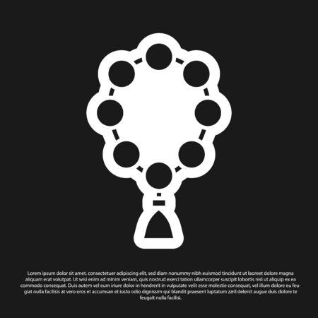 Black Rosary beads religion icon isolated on black background. Vector Illustration.
