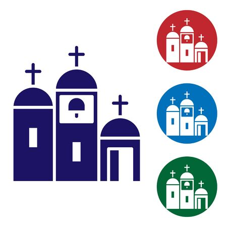 Blue Church building icon isolated on white background. Christian Church. Religion of church. Set icons in color square buttons. Vector Illustration.