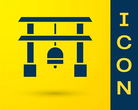 Blue Japan Gate icon isolated on yellow background. Torii gate sign. Japanese traditional classic gate symbol. Vector Illustration 向量圖像