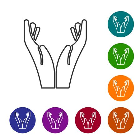 Black line Hands in praying position icon isolated on white background. Prayer to god with faith and hope. Set icons in color circle buttons. Vector Illustration. Çizim