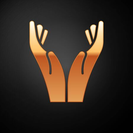 Gold Hands in praying position icon isolated on black background. Prayer to god with faith and hope. Vector Illustration. Çizim