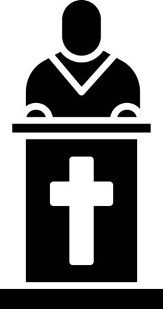 Black Church pastor preaching icon isolated on white background. Vector Illustration. Vectores