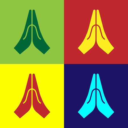 Pop art Hands in praying position icon isolated on color background. Prayer to god with faith and hope. Vector Illustration. Çizim