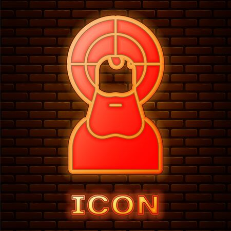 Glowing neon Jesus Christ icon isolated on brick wall background. Vector Illustration.