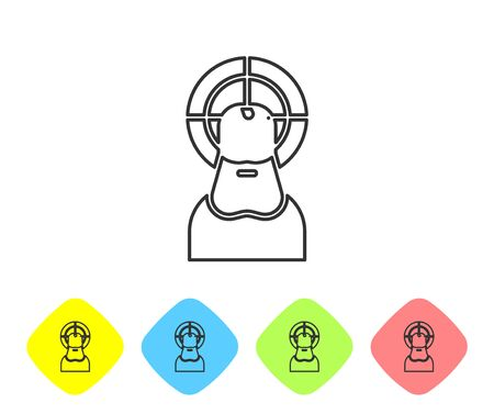 Grey line Jesus Christ icon isolated on white background. Set icons in color rhombus buttons. Vector Illustration. Çizim