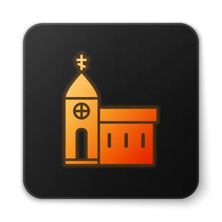 Orange glowing neon Church building icon isolated on white background. Christian Church. Religion of church. Black square button. Vector Illustration.