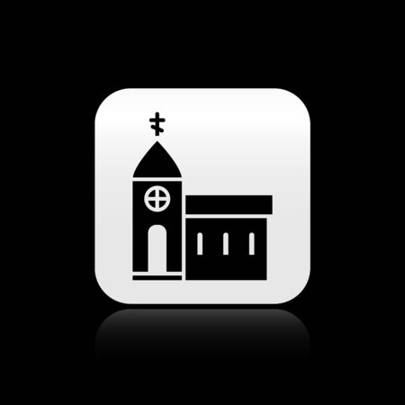 Black Church building icon isolated on black background. Christian Church. Religion of church. Silver square button. Vector Illustration.