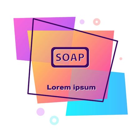 Purple Bar of soap icon isolated on white background. Soap bar with bubbles. Color rectangle button. Vector Illustration. 向量圖像